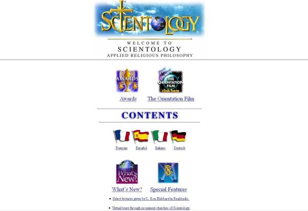 Screenshot der Scientology Homepage (scientology.org) von 1996